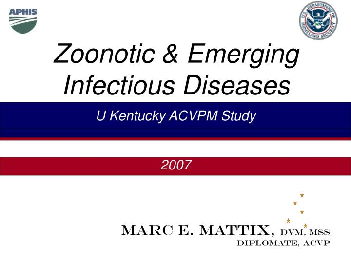zoonotic emerging infectious diseases n.