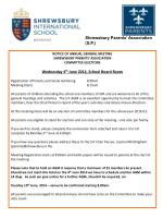 NOTICE OF ANNUAL GENERAL MEETING SHREWSBURY PARENTS' ASSOCIATION COMMITTEE ELECTIONS