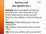 Nutrition Unit Bon Appetite Day 1