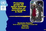 Promoting gender for peace building: Reflection on peacekeeping  in Haiti