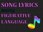 SONG LYRICS featuring FIGURATIVE LANGUAGE