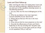 Lewis and Clark Follow-up