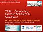 CASA – Connecting Assistive Solutions to Aspirations