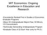 MIT Economics: Ongoing Excellence in Education and Research