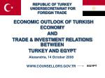 ECONOMIC OUTLOOK OF TURKISH ECONOMY AND TRADE & INVESTMENT RELATIONS BETWEEN TURKEY AND EGYPT