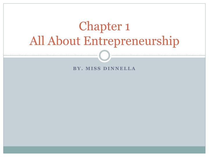 chapter 1 all about entrepreneurship n.