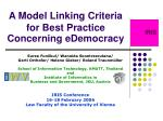A Model Linking Criteria for Best Practice Concerning eDemocracy