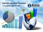 SiteTalk and other Statistics Last updated: July 19th 2013
