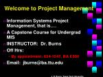 Welcome to Project Management