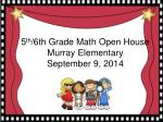 5 th /6th Grade  Math  Open  House Murray Elementary September 9, 2014