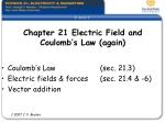 Chapter 21 Electric Field and  Coulomb's Law (again)