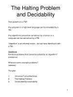 The Halting Problem and Decidability
