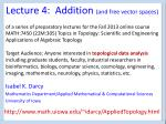 Lecture 4: Addition (and free vector spaces)