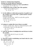 Section 2.1  Solving Linear Equations Strategy for Solving Algebraic Equations: