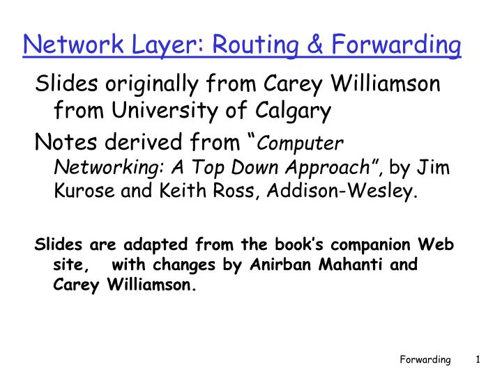 network layer routing forwarding n.