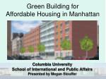 Green Building for Affordable Housing in Manhattan