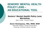 SENIORS' MENTAL HEALTH POLICY LENS – AN EDUCATIONAL TOOL