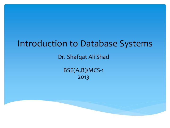 introduction to database systems n.