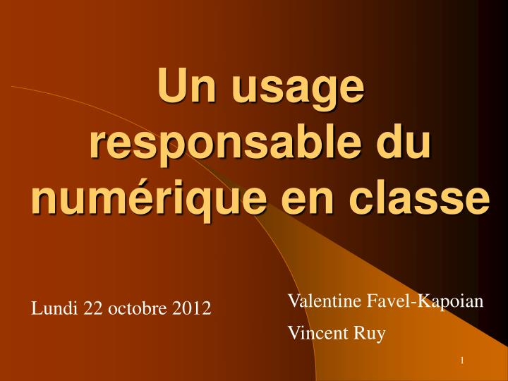 un usage responsable du num rique en classe n.