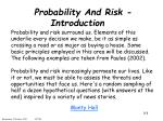 Probability And Risk - Introduction