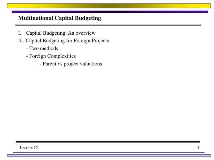 multinational capital budgeting n.