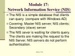Module 17: Network Information Service (NIS)