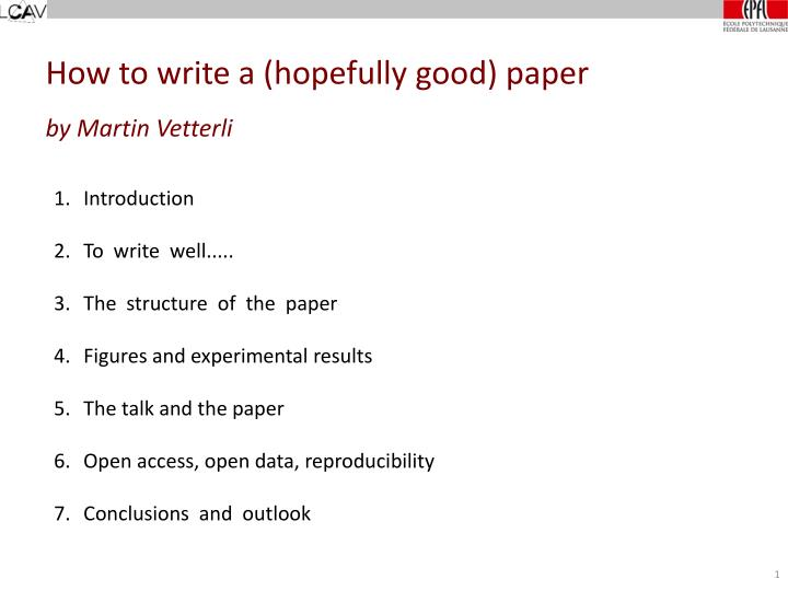 how to write a hopefully good paper by martin vetterli n.