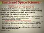 Earth and Space Science: TEK 11 b; c; and d