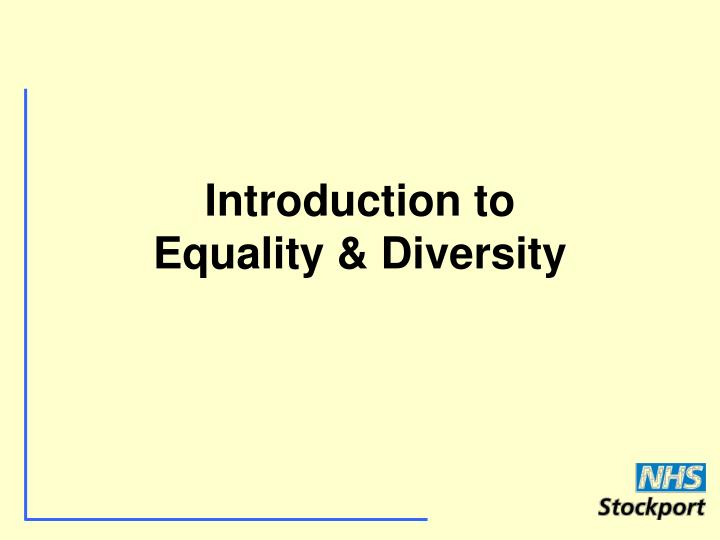 introduction to equality diversity n.