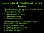 Balanced and Unbalanced Forces Review