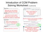 Introduction of CCM Problem-Solving Worksheet (modified A3)