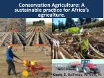 Conservation Agriculture: A sustainable practice for Africa's agriculture.