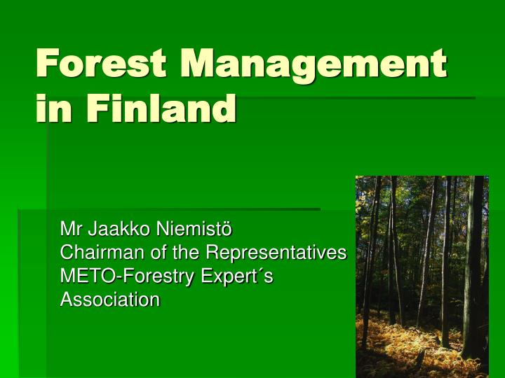 forest management in finland n.