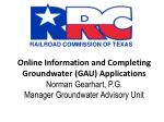 Groundwater Advisory Unit