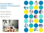 Potential M&A in Bulgarian Pharmaceutical Industry