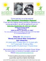 Come and join us on the second Miss Sunshine Foundation Pageant