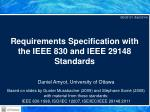 Requirements Specification with the IEEE 830 and IEEE 29148 Standards