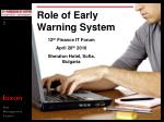 Role of Early Warning System