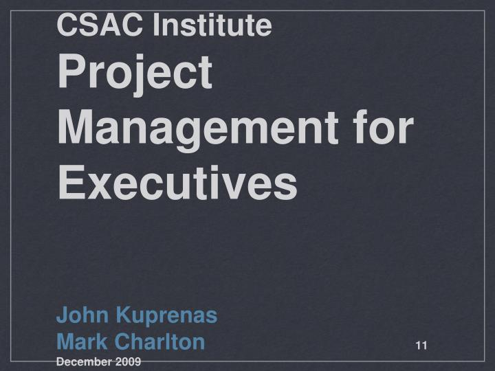 csac institute project management for executives n.