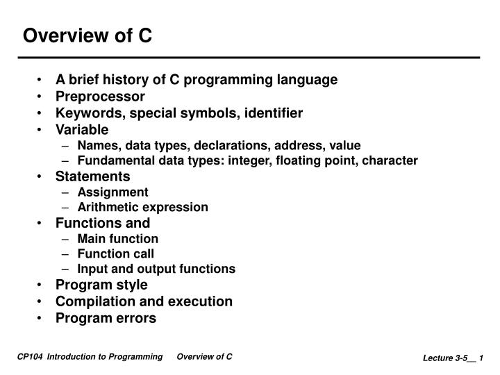 783c5949ebe4cf PPT - Overview of C PowerPoint Presentation - ID:5639423