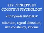 KEY CONCEPTS IN COGNITIVE PSYCHOLOGY Perceptual processes: