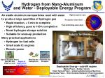 Hydrogen from Nano -Aluminum and Water - Deployable Energy Program