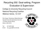 Recycling 202: Goal-setting, Program Evaluation & Supervision