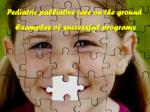 Pediatric palliative care on the ground  Examples of successful programs