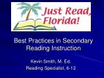 Best Practices in Secondary Reading Instruction