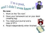 """Do now: Work on the """"Do now"""". Have your homework out on your desk (reading log)"""