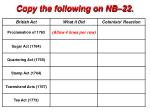 Copy the following on NB–22.