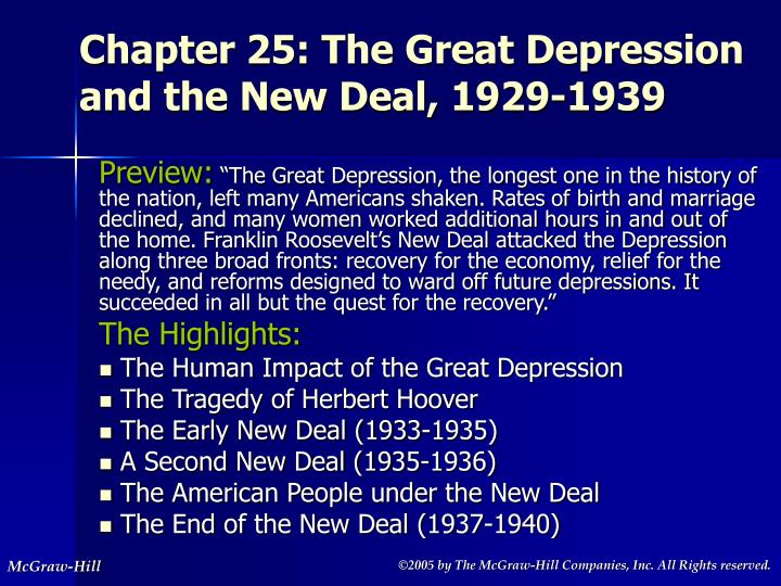 chapter 25 the great depression and the new deal 1929 1939 n.