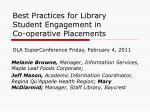Best Practices for Library Student Engagement in  Co-operative Placements