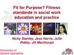 Fit for Purpose? Fitness standards in social work education and practice